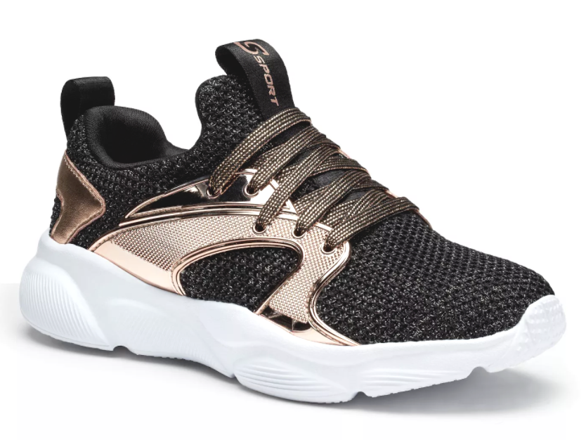 Girls' Black Rose Gold S Sport by Skechers Edena Sneakers Shoes NEW