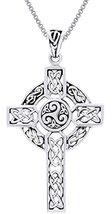 Jewelry Trends Sterling Silver Celtic Trinity Triskele Cross Pendant on ... - $36.10