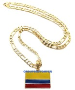 Colombia Flag Small Pendant Necklace With 24 Inch Long Figaro Chain - $14.99