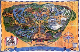 1976 Disneyland Map Reproduction Poster 24X36 Inches Looks Beautiful Nostalgia - $19.94