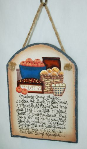 Folk Creek Brand Hand Crafted Cranberries Harvest Plaque With Muffin Recipe