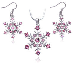 Pink - Snowflake Wedding Bridesmaid Necklace Earrings Prom Women Jewelry... - $29.98