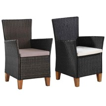 vidaXL 2x Outdoor Dining Armchair Poly Rattan Wicker Garden Patio Seat 2... - $116.99+