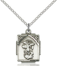 Sterling Silver St. Michael the Archangel Pendant 5/8 X 1/2 18 inch Chain - $58.43