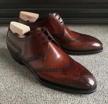 Handmade Men's Brown Leather Heart Medallion Dress/Formal Lace Up Oxford Shoes image 3
