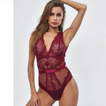 Summer Lace Bodysuit Women Floral Embroidery Deep V Neck Sexy Bodysuit - Red - $19.12