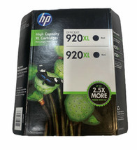 Hp 920XL Black Genuine High Yield Ink Cartridges 2-PACK Oem Sealed Exp 08/2017 - $20.78