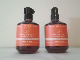 2 Crabtree & Evelyn POMEGRANATE & ARGAN OIL Nourishing Hand Wash Soap Lo... - $27.39