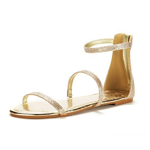 DREAM PAIRS Women's Athena_Low Gold Glitter Fashion Gladiator Design Ankle Strap