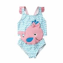 2019 Cute Baby Girls Swimwear Sleeveless Whale Printed Bow Bodysuit Beac... - $10.19