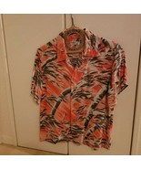 SUN SURF aloha shirt Japanese Pattern Pale Orange XS Size Used - $90.99