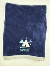 Just Born Adventure Blue Baby Blanket Tent Teepee Arrow Fleece Gray Sati... - $19.99