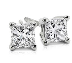 1.00CT Princess Cut Genuine G/VS2 Diamonds 14K Solid White Gold Stud Ear... - $1,100.20+