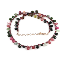 Multi Tourmaline & Garnet Beads Necklace with 925 Silver Chain Rose Gold... - $59.99