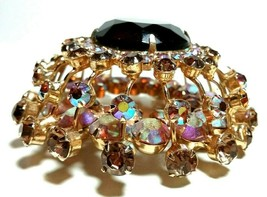STACKED LAYERED DESIGNER LARGE VINTAGE RHINESTONE GLASS UNUSUAL BROOCH PIN - $115.00