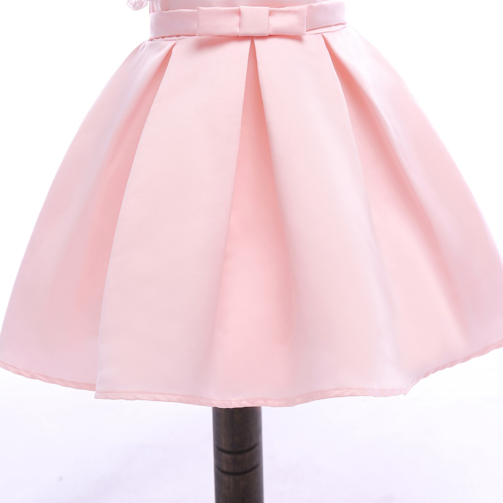 Sample One Shoulder Pink Satin Girls Party Gowns Sexy Mini Flower Girls Dresses image 2