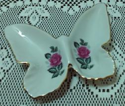 Vintage Porcelain Butterfly Shaped Trinket Ring Dish Pink Roses - $6.00