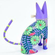 Handmade Alebrijes Oaxacan Wood Carved Painted Folk Art Sitting Cat Figurine image 3
