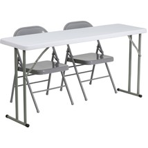 Flash Furniture 18'' x 60'' Plastic Folding Training Table with 2 Gray M... - $95.69