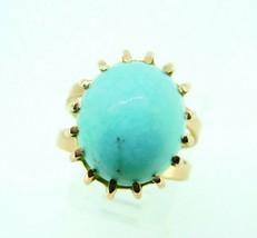 Retro 14k Yellow Gold Large 12.3ct Genuine Natural Turquoise Ring (#J5112) - $467.50