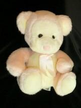 "8"" Russ PUFFUMS CREAM PINK TEDDY BEAR RATTLE plush stuffed animal baby toy - $14.84"