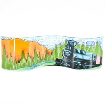Fused Art Glass Locomotive Train by Mountain Wavy Sun Catcher Handmade Ecuador