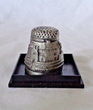 Pewter Thimble Llancaiach Fawr Manor A Gift from Wales In case - $9.98