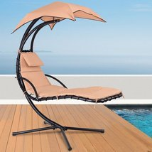 Hanging Arc Stand Porch Swing Hammock Chair with Canopy (Beige/Blue/Orange) - $199.00
