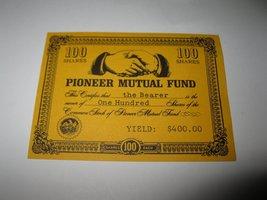 1964 Stocks & Bonds 3M Bookshelf Board Game Piece: Pioneer Mutual 100 Shares - $1.00