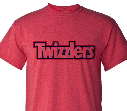 Twizzlers T-shirt retro vintage inspired heather red cotton blend graphic tee