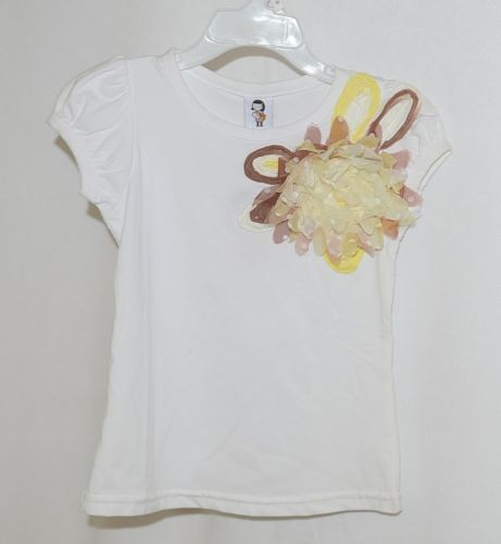 Cute Princess White Cap Sleeve Shirt Large Yellow Brown Flower Size 3 to 4 Yr