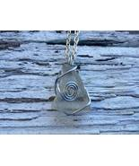 Small Seer necklace: White Estonian sea glass with silver color wire spiral - $29.00