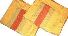 Waverly Alto Stripe 2 Standard Pillow Shams Sage Green Orange Gold Striped - $39.57
