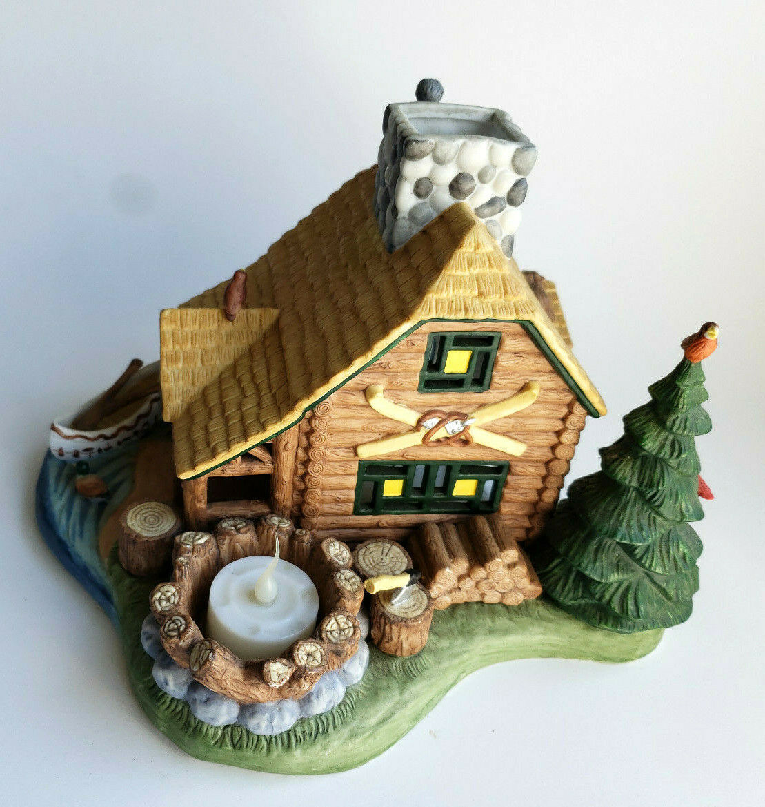 Gone Fishin'  Lakeside Log Cabin Tealight Candle Holder Village PartyLite P7305