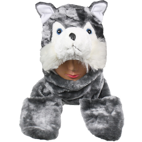 Case of [24] Grey Wolf Animal Winter Hats - Mittens