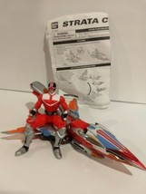 2001 Bandai Power Rangers Figure & Toy Vehicle Red Strata Cycle Airplane  - $21.97