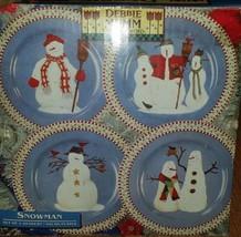 Debbie Mumm Christmas Jolly Snowmen Snowman Sakura Salad / Dessert Plates X 4 - $27.70