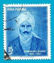 Used India Postage Stamp (1960) 15np Poet Subramania Bharati Scott #331 - $1.99