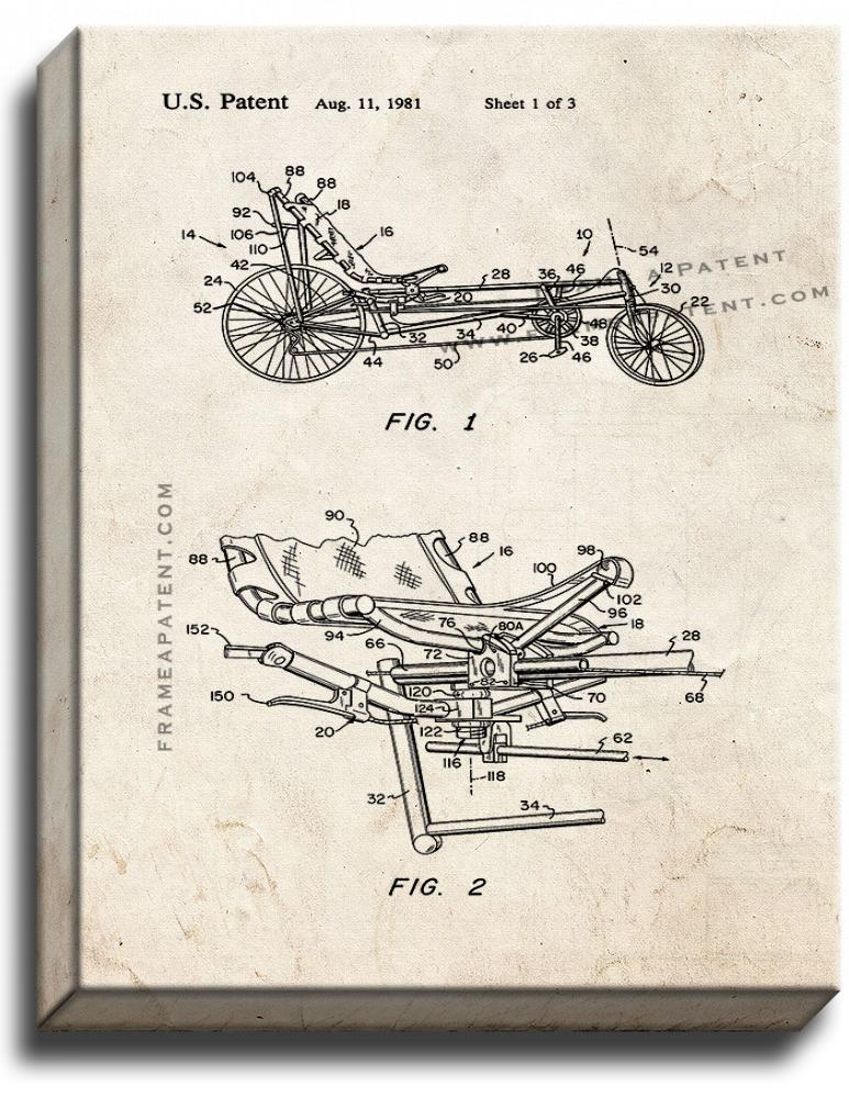 Primary image for Recumbent Bicycle Patent Print Old Look on Canvas