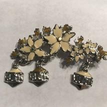 Cream Enamel Silvertone Floral Dangle Brooch Pin J0551 - $7.59