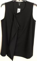 Top 1X Plus Alfani $66 NWT Sleeveless Zip-Front Deep Black Flounced MC579 - $11.68