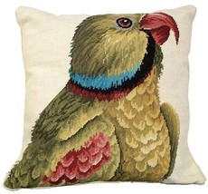 Throw Pillow Needlepoint Parrot Looking Right Bird 18x18 - $179.00