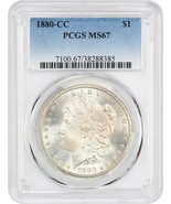 1880-CC $1 PCGS MS67 (Reverse of 1879) Satiny Superb Gem - Morgan Silver... - $17,654.00