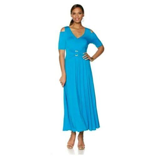 Liz Lange Cold-Shoulder Ultimate Maxi Stretch Knit Dress blue Sz PL