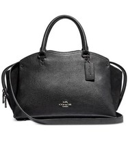 Nwt Coach Mixed Leather Drew Satchel BLACK/SILVER In Original Packaging - $199.99