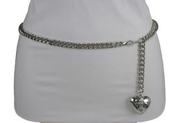 Women Hip Waist Silver Metal Chain Fashion Belt Love Heart Buckle Charm ... - $17.63