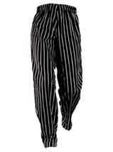 Chef Pants Black White Stripe XL Elastic Drawstring Waist Chefs Designs New - $29.07