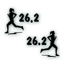 Marathon 26.2 GIRL WOMAN Decal bumper sticker PAIR Olympic mile runner B... - $8.83