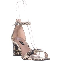 Nine West Pruce Ankle Strap Sandals, Light Gray Leather, 9.5 US - $25.91