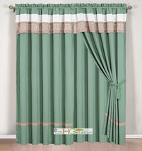 4-Pc Greek Key Meander Embroidery Curtain Set Sea Green Silver Ivory Valance - $40.89